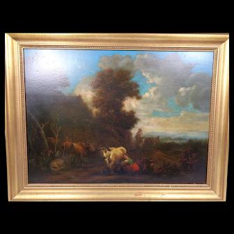 Antique Old Master Italianate Landscape On Panel 18th Century