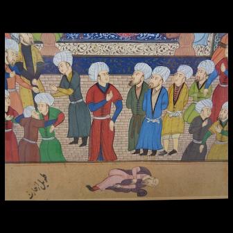 Delicate Detailed Persian School Miniature on Paper Court Scene
