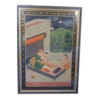 Superb Quality Romantic Mughal Style Indian Miniature Beautiful