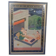 Superb Quality Romantic Mughal Style Indian Miniature Beautiful