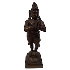 Antique 19th Century South Indian Bronze Rare Saint Chandesha ( Chandikeshvara )