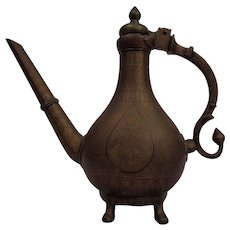 Cast Bronze Indian Mughal Ewer Persian Islamic Inspired Elegance C. 1750