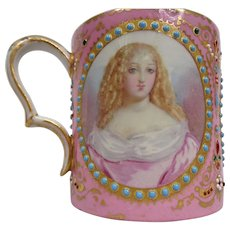 Antique 19th Century Sevres-Style Portrait Cabinet Cup- Coffee Can Pink