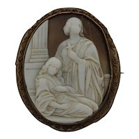 Antique 19th Century Cameo Brooch Religious Subject