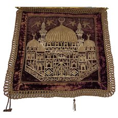 Antique 19th Century Turkish Textile Velvet Mosque Gold Thread