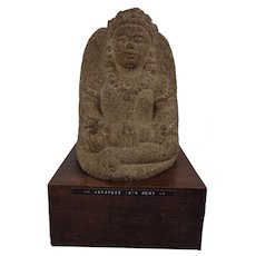 Wonderful Indonesian Antique Original 15th Century Javanese Stone Carved Buddha