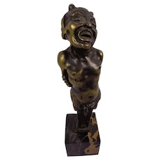 Antique 19thC Fabulous Bronze Figure of a Cheeky Satyr or Pan