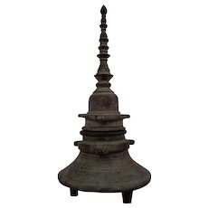 Antique 18thC Oversized Bronze Inkwell in Stupa Form-India