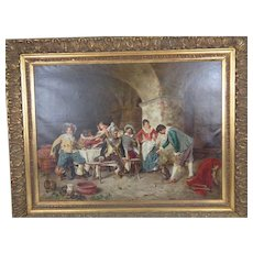 Antique Italian Genre Painting Of Whimsical Tavern Interior Scene - Signed