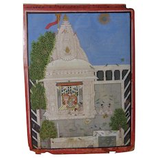 Rare Early 19th Century Indian Miniature Shiva Temple Worship