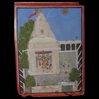 Rare Early 19th Century Indian Miniature Shiva Temple Worship