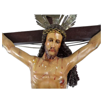 Large Church or Cathedral Crucifix Philippines Spanish - 6.5 Feet High
