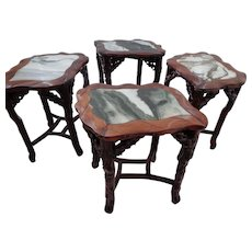 Chinese Qing Dynasty Masterly Carved Set of Four Side Tables With Dreamstone Marble