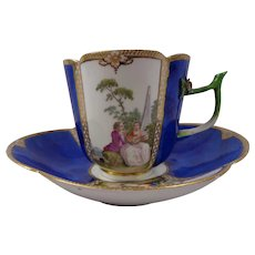 Super Rare Meissen Blue-Ground Wattesque Cup & Saucer C. 1740's
