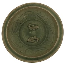 Ming Dynasty Chinese Celadon Twin Fish  Charger Dish
