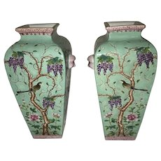 Two (2) Beautiful Chinese Turquoise Dayazhai  Vases Republic Period