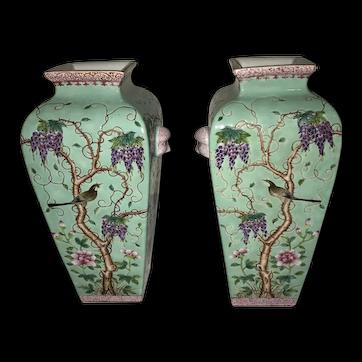 Two (2) Beautiful Chinese Turquoise Dayazhai  Vases Republic Period