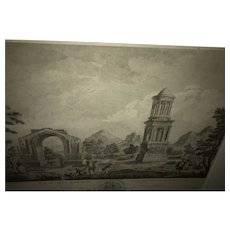 Charming French Rococo Engraving 1777 Louis XVIII Glanum Roman Monuments