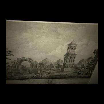 Charming French Rococo Engraving 1777 Louis XVIII Glanum Roman Monuments