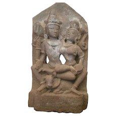 Large Antique 12th Century Uma-Mahesvara Sandstone Shiva Hindu Sculpture Museum
