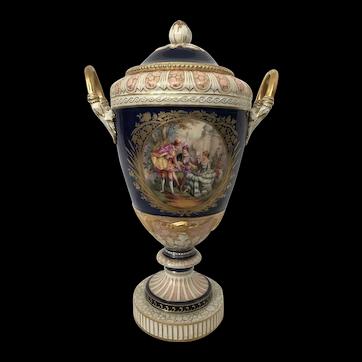 "Large KPM Berlin Porcelain ""Weimar"" Vase & Cover 19thC"