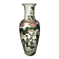 Large Antique Chinese Late 19th Century Famille Verte Vase