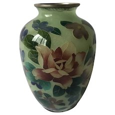 Antique Japanese Plique a Jour Vase Stained Glass