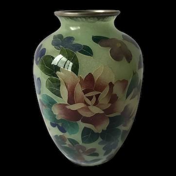 Antique Japanese Plique a Jour Vase Stained Glass