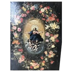 Antique Circa 1700 Old Master Floral Garland Painting With The Virgin & Cherubs