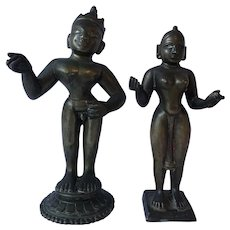 Antique Indian Brass Figures Krishna & Radha 18th/19th Century