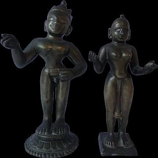 Antique Indian Brass Figures Krishna & Radha 18th/19th Century