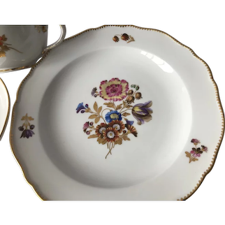 19th Century Meissen First Quality Trio Cup/Saucer/Plate Rich Gilding