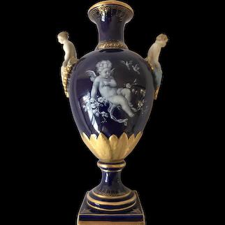 19th Meissen First Quality Cobalt Blue Enamel Vase