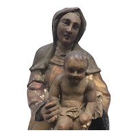 Rare Antique Italian Circa 1750 Virgin & Child Sculpture Polychrome