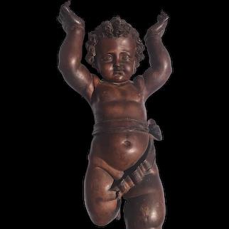 Gorgeous Antique 19th Century Valentino Besarel Statue of Putti Italian