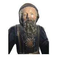 Lovely 18th Century Portuguese Polychrome Statue Saint Francis de Paola 1700's
