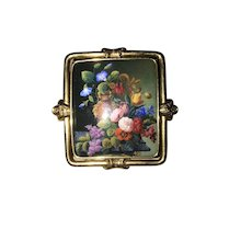 Rare And Striking 19th Century Circa 1850 18k Gold Enamel Brooch
