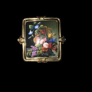 Rare And Striking 19th Century Circa 1850 18k Gold Enamel Brooch