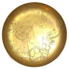 Art Nouveau Brass Plated Dish, Vintage