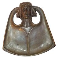 Bronze Woman's Head in Relief Pin Dish, Vintage