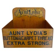 Aunt Lydia's Carpet Buttons & Thread Wooden Counter Display Box