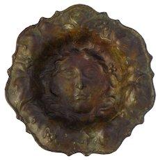 Art Nouveau Style Bronze Dish - Flower with Face, Vintage