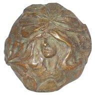 Bronze Medallion, Art Nouveau Style - Woman's Head, Flowing Hair, Flowers
