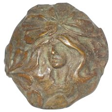 Bronze Medallion, Art Nouveau Style - Woman's Head, Flowing Hair, Flowers
