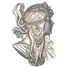 "Alphonse Mucha Byzantine ""Brunette"" Cast Metal Buckle, Vintage"