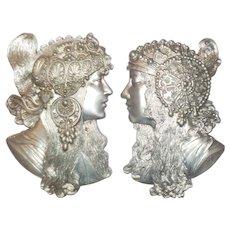Alphonse Mucha's Byzantine Women, Cast Silver Metal, Vintage