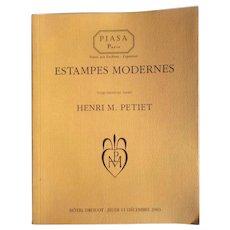 PIASA Estampes Modernes Auction Catalog, Henri M. Petiet, Paris, 2003