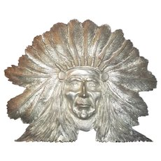 Indian Chief, Cast Silver Metal, Vintage
