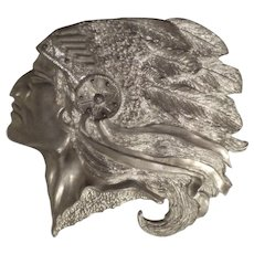Indian Chief, Profile, Cast Silver Metal, Vintage
