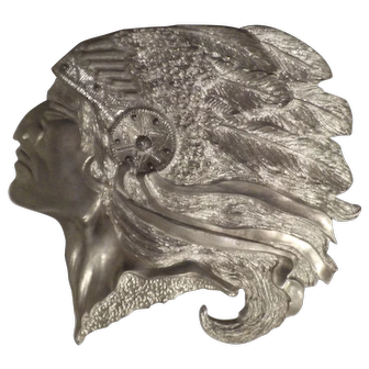 Indian Chief, Profile, Cast Silver Metal, Vintage